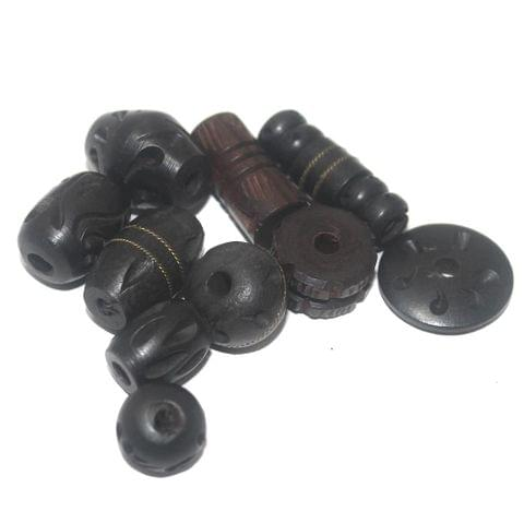 20 Wooden Carved Beads 10-25mm