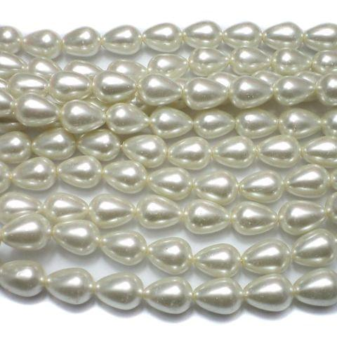 25 Glass Pearl Drop Beads Off White 15x11mm