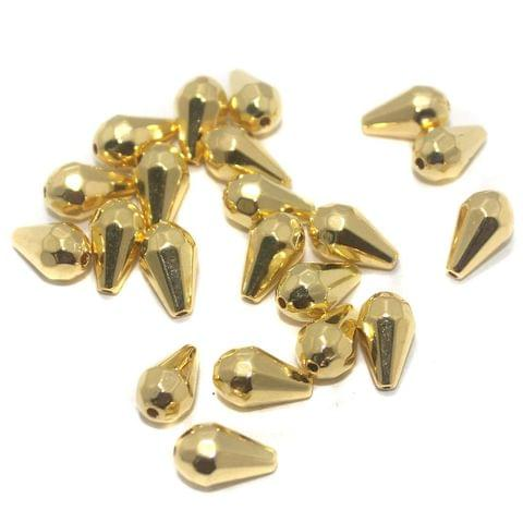 Jewellery Making Acrylic Drop Beads Golden, Size12x7 , Pack Of 50 Gm