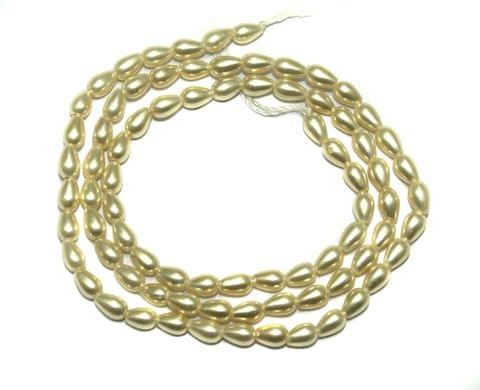 Natural Freshwater Drop Pearl Beads Ivory, Size 6x4 mm, Pack of 1 Strings