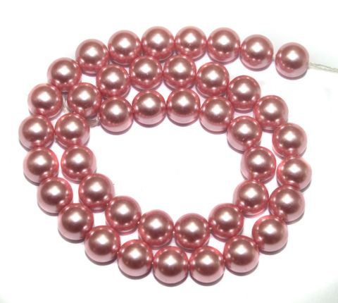 Faux Pearl Round Beads Pink 10mm, Pack of 1 Strings
