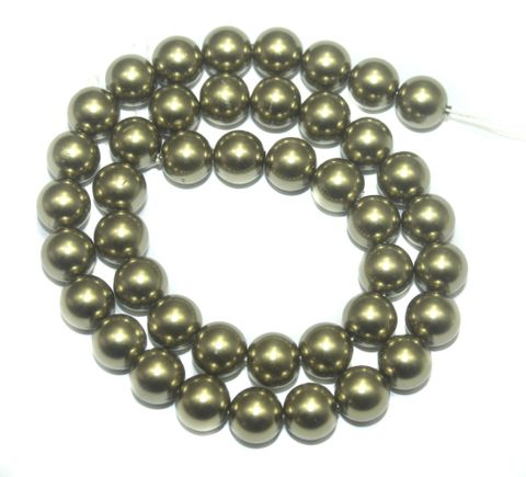 Faux Pearl Round Beads olive Green 10mm, Pack of 1 Strings