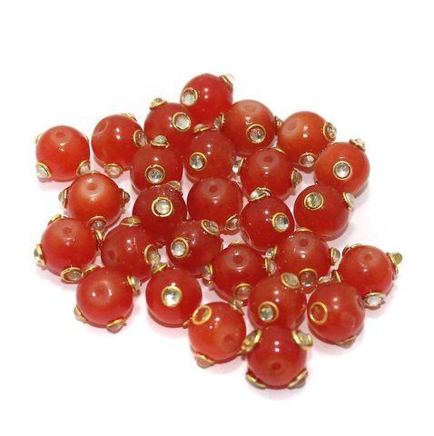 Glass Kundan Beads Round 10mm Orange