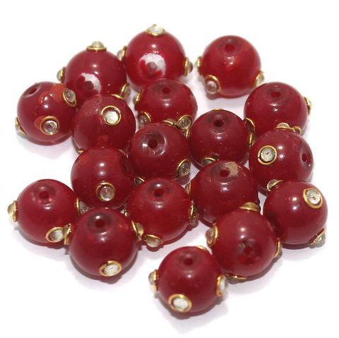 Glass Kundan Beads Round 12mm Red