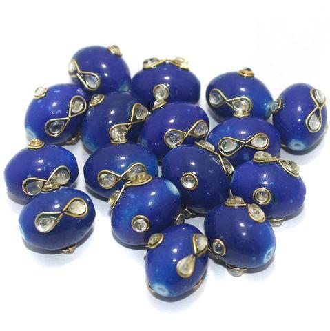 Glass Kundan Beads Oval 15x12mm Blue
