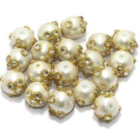 Glass Kundan Beads Round 12mm Off White