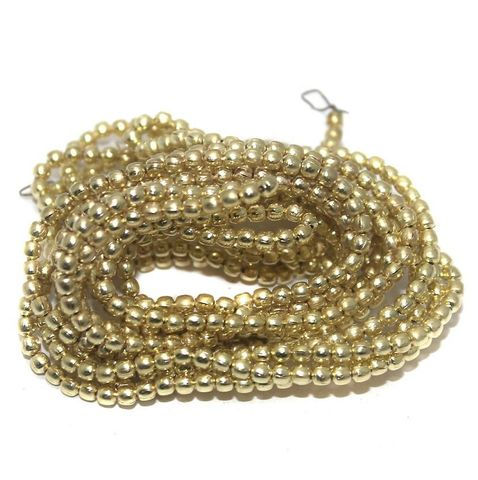 50 Gm Metal Hammered Round Beads Golden 3 mm