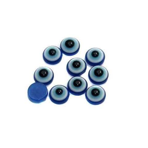 200 Eye Cabochon Beads Blue 7mm