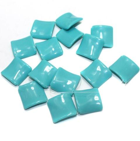 2 Strings Acrylic Neon Flat Rectangle Beads Turquoise 22mm