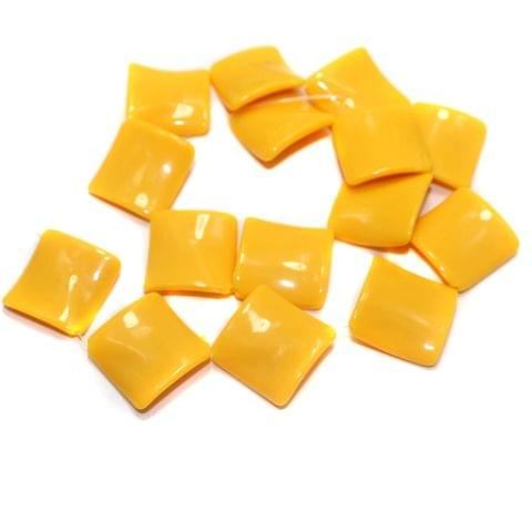 2 Strings Acrylic Neon Flat Rectangle Beads Yellow 22mm