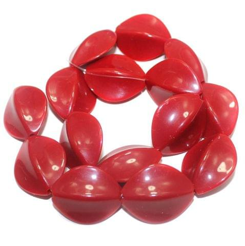 2 Strings Acrylic Neon Flat Tumble Beads Dark Red 28x23mm