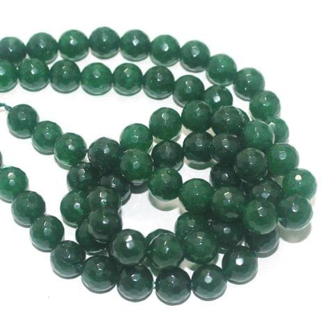 Zed Cut Round Beads Green 10 mm, 2 string