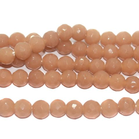 35+ Faceted Glass Round Beads Peach 10 mm