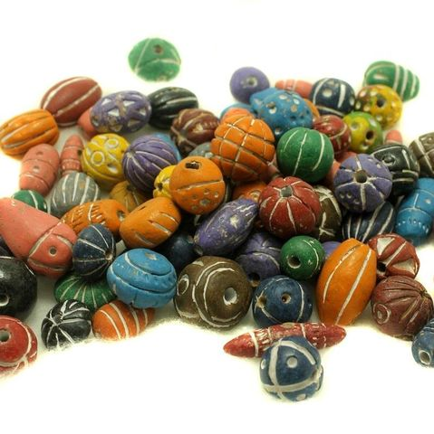 50 Clay Beads Assorted Multi 12-30mm