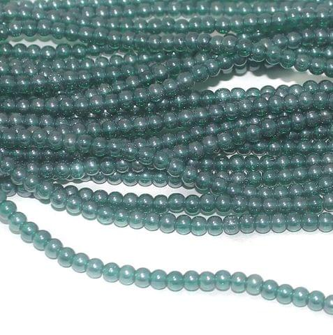 Green Luster Trans glass round beads 4mm 12 Strings