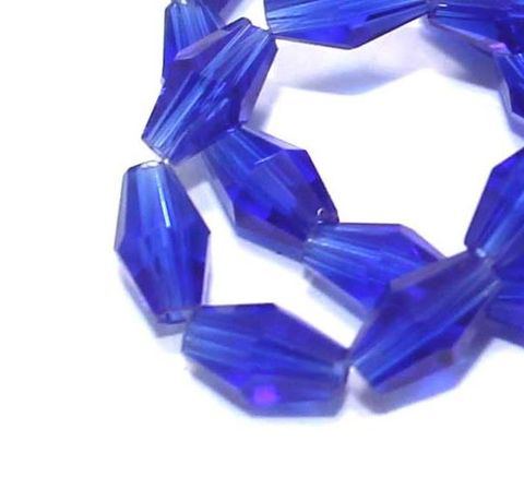 Crystal Faceted Double Cone Beads Trans Blue 6x3mm , Pack of 65+ Beads