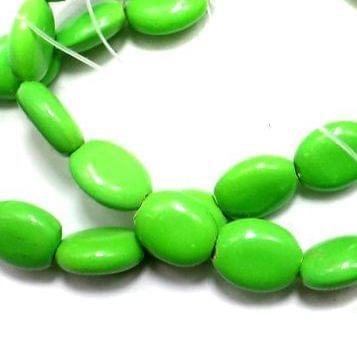 5 Strings Neon Glass Oval Beads Peridot 12x9mm