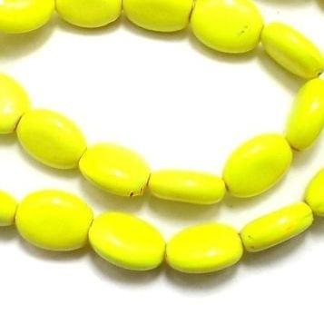 5 Strings Neon Glass Oval Beads Yellow 12x9mm