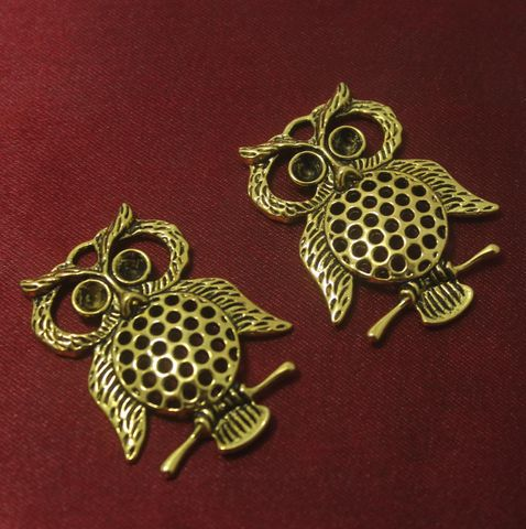 6 Pcs. German Silver Owl Pendants Golden 45x33 mm