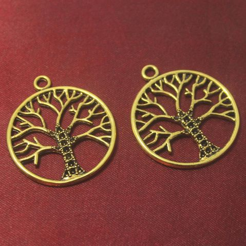 12 Pcs. German Silver Golden Tree Pendants 38x34 mm