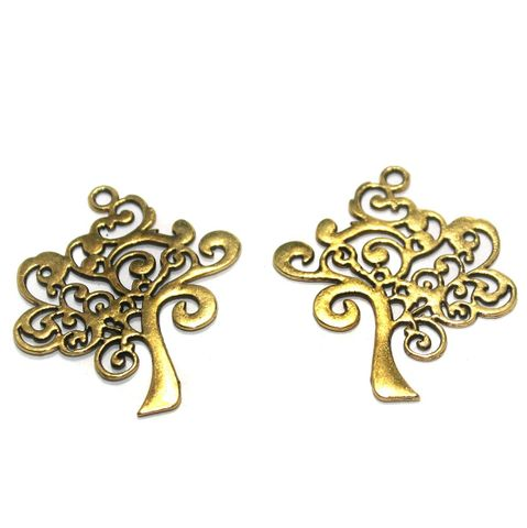 14 Pcs. German Silver Golden Tree Pendants 41x38 mm