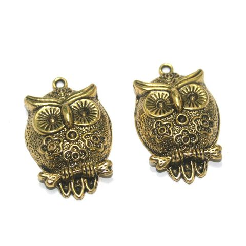 12 Pcs. German Silver Golden Owl Pendants 35x22 mm