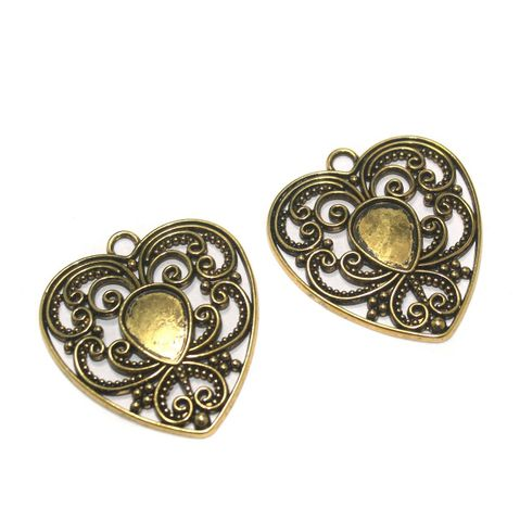 12 Pcs. German Silver Golden Heart Pendants 42x38 mm