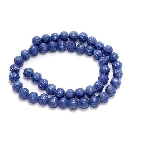 5 Strings Kharbooja Glass Beads Blue 10mm