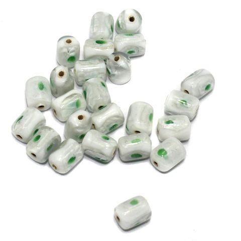250 Millefiori Tube Beads White 10x8mm