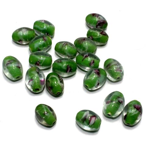 250 Millefiori Oval Beads Green 15x12mm