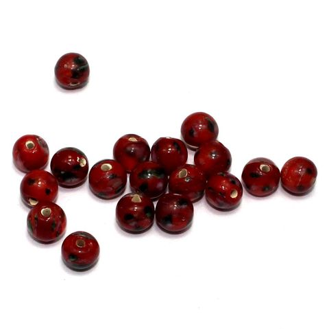 250 pcs of Millefiori Round Beads Red 8mm