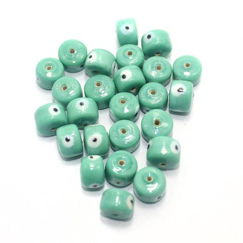 125 pcs Evil Eye Tyre Beads Peridot 13x9mm