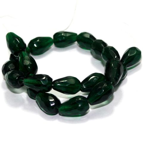 20 Hand Cut Faceted Glass Drop Beads Green 15x10mm