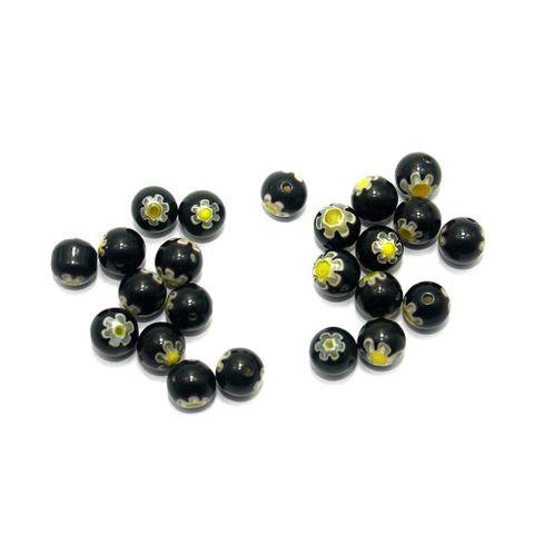 100 Chevron Round Beads Black 8mm