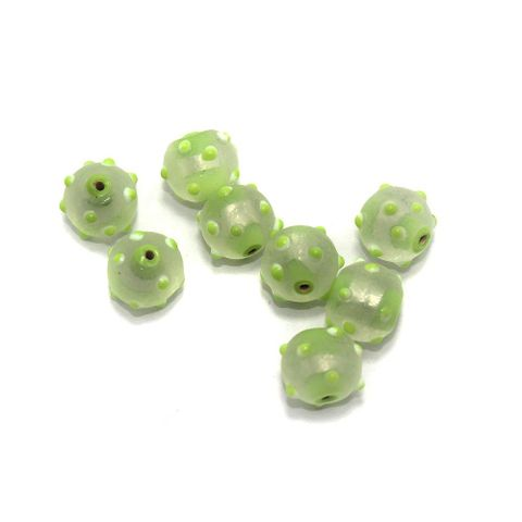 25+ Bump Dotted Swirl Round Beads Inside Color Peridot 14mm
