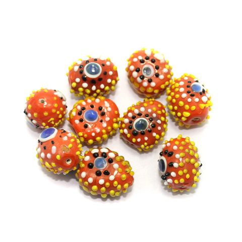 8 Bump Dotted Beads Orange 20-28mm