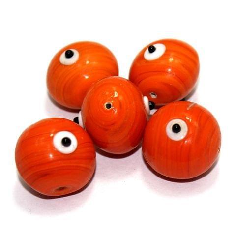 10 Bump Eye Beads Orange 18x20mm