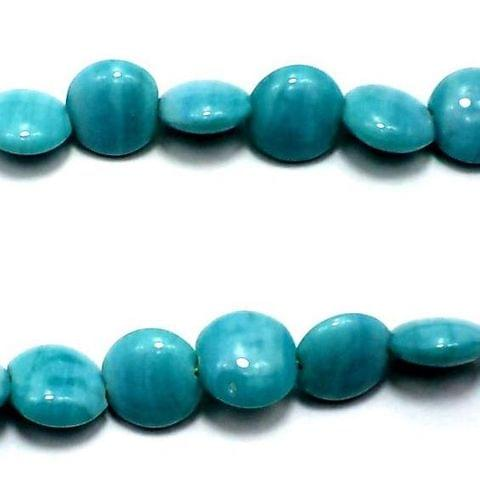 5 Strings Fire Polish Disc Beads Turquoise 12mm