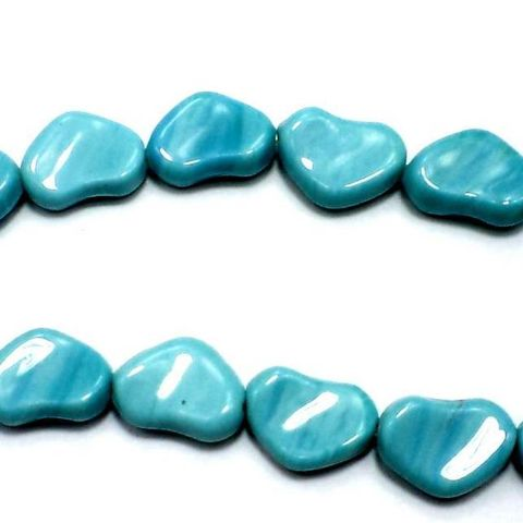 5 Strings Fire Polish Heart Beads Turquoise 12x18mm
