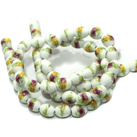 Premium Multicolor Ceramic Beads 1 String
