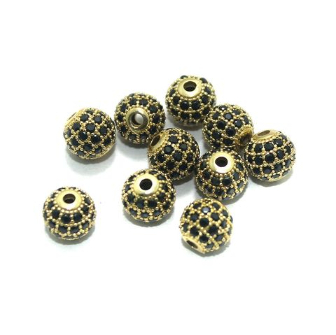 CZ Beads Round 10 Pcs Black 8x8mm