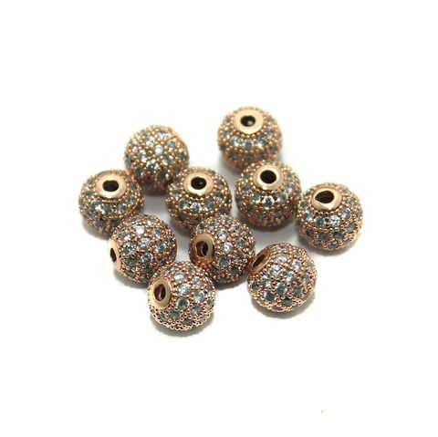 CZ Beads Round 10 Pcs Copper 8x8mm