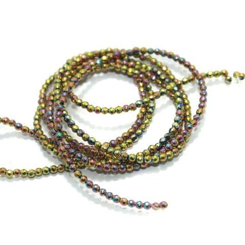 Faceted Beads Round 2mm 2 Strings Rainbow