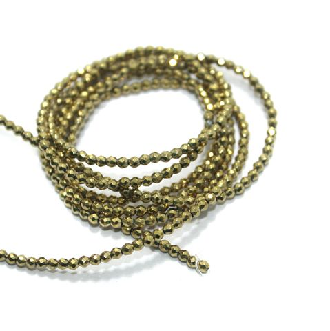 Faceted Beads Round 2mm 2 Strings Golden