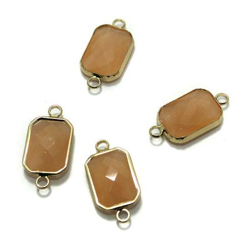 Golden Gemstone Connectors 5 Pcs Orange 11x22mm