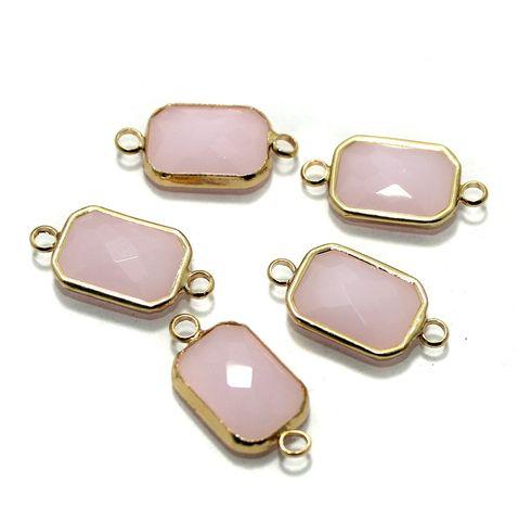 Golden Gemstone Connectors 5 Pcs Pink 11x22mm