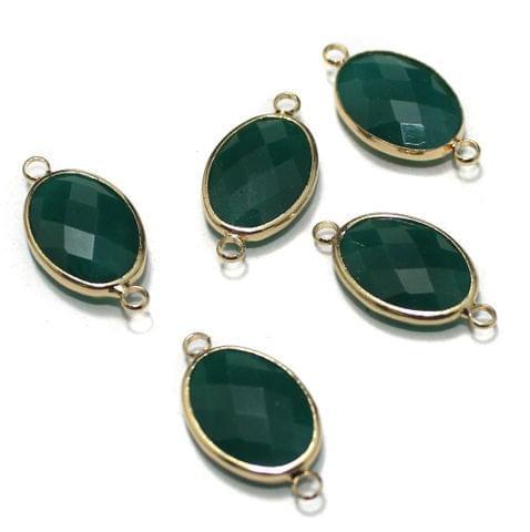 Golden Gemstone Connectors 5 Pcs Green 11x22mm