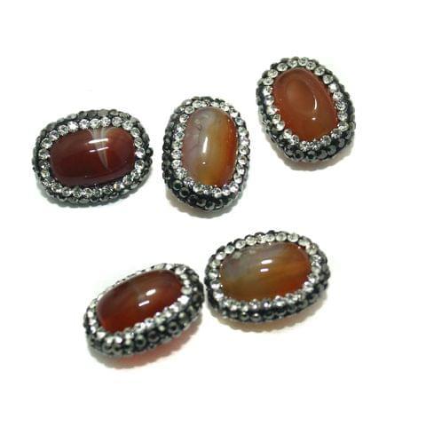 Gemstone CZ Beads 5 Pcs 15x19mm Orange
