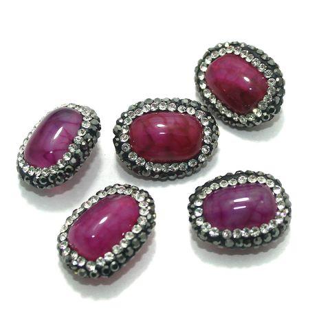 Gemstone CZ Beads 5 Pcs 13x19mm Magenta