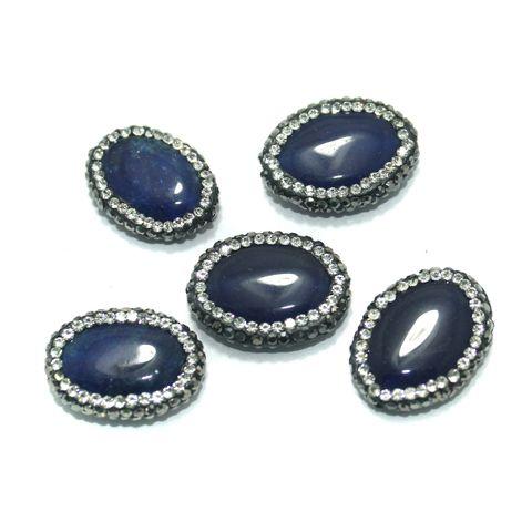 Gemstone CZ Beads 5 Pcs 17x22mm Blue